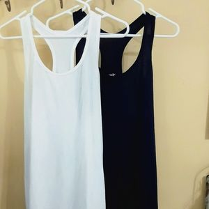 Old Navy White and Blue Performance Tanks EUC!